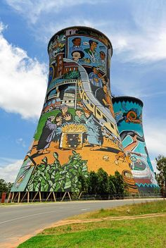 Soweto is home to two Nobel Peace Prize winners. Cooling towers near Johannesburg, South Africa. Street Art, Street Mural, Africa Destinations, Holiday Destinations, Out Of Africa, South Africa Art, Photos Voyages, Water Tower, Africa Travel