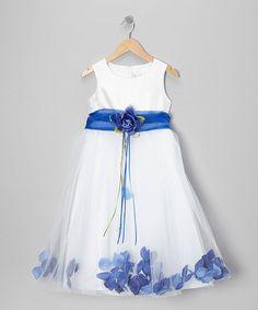 White & Blue Flower Petal A-Line Dress - Infant, Toddler & Girls