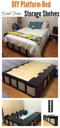 DIY Platform Bed Made From Storage Shelves – wohnung - Diy Furniture Lit 2 Places Ikea, Lit Queen Size, Platform Bed With Storage, Platform Beds, Pallet Platform Bed, Ikea Platform Bed Hack, Queen Platform Bed Frame, Build A Platform Bed, Full Size Platform Bed