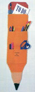 A Pencil Organizer Free Pattern Crochet Organizer, Crochet Storage, Crochet Tote, Crochet Gifts, Free Crochet, Crochet Things, Crochet Needles, Crochet Stitches, Crochet Patterns