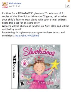 A few more hours to enter the giveaway on www.facebook.com/pinkalicious #giveaway