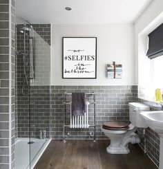 43 ideas bath room tiles grey feature walls floors for 2019 Bathroom Kids, Trendy Bathroom Designs, Bathroom Makeover, Bathroom Wall Tile, Bathroom Flooring, Bathroom Cleaning, Bathrooms Remodel, Bathroom Decor, Grey Bathrooms