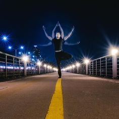 """Post The People on Instagram: """"Photo and story by @mdpny This photo is part of an ongoing series of self-portraits in yoga poses taken all over the city. This single-frame long exposure, photographed on the Hudson River bike path in Manhattan, was especially tricky, as it required staying as motionless as possible while balancing, and still moving the arms to the three positions. Presented by @skinnywashere #postthepeople"""""""