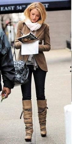 ...love it all...the scarf, looks like a cute ruffly top,  wonderful style jacket fitting just below the hip, cute bag, perfect skinnies, and those boots...LOVE!  #blakelively #fashionicon