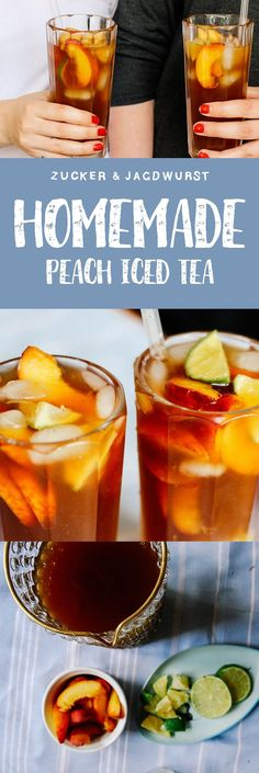 Homemade Vegan Peach Iced Tea with lime.