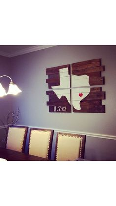 4 pc. Texas Pallet Sign! Can be done with any state or US, have a heart where you're from and custom wording added at no additional charge!