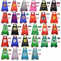 50 Niños capas de superhéroes de lados Dobles de Raso Tela super hero capa + máscara del partido suministros de fiesta de cumpleaños de los niños cosplay