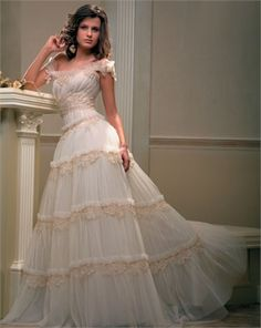 www.balllily.com $288 A Line Off-The-Shoulder Strap Papilio Wedding Dress PWD094