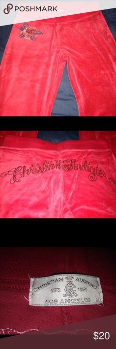 EUC Christian Audigier velour pants! Pink velour pants! Pretty sequined flower on the front and sequined Christian Audigier on the back! No rips or stains! Super soft and comfy! Christian Audigier Pants Track Pants & Joggers
