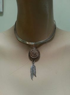feather shell pendant sterling silver eithnic by youareoutthere