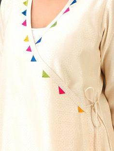 Cream- Multi-Color Trims Chanderi Hand Block Printed Angrakha Kurta