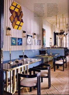 #Blue #Navy #Fashion #Inspiration #Interior #Design #Restaurant #Decor #Fancy #Gold  #Style