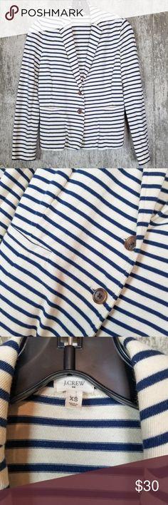 5db76626ec2 J. Crew Soft Striped Knit Pocket Blazer Sz XS Great