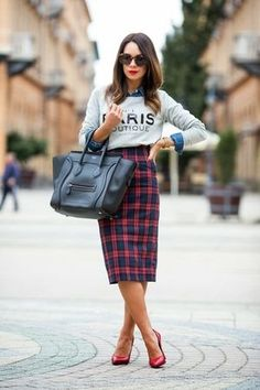 Plaid with a solid top or bottom is always street chic