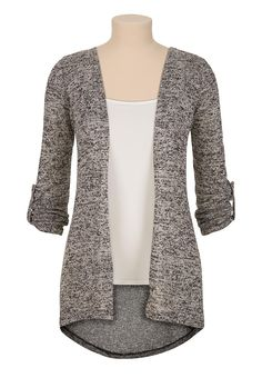 Roll tab sleeve open front hacci cardiwrap - maurices.com