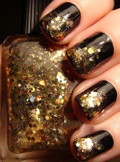 6 Best Gold Nail Art Designs: Black and Golden Glitter Nail Paint: