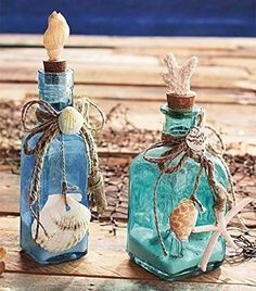 Crafts with Seashells and Bottles 39 Set Of 2 Glass Bottles Seashells Seaside Home Ocean Beach theme Decor Coral Sand 3 bottle crafts beach crafts with seashells and bottles 6 - Viral Decoration Beach Themed Crafts, Beach Crafts, Glass Bottle Crafts, Wine Bottle Art, Wine Bottles, Decorative Glass Bottles, Decoration Evenementielle, Coastal Decor, Coastal Style
