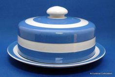 TG Green Blue & White Cornishware - Cheese Dish & Bell