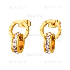 aretes de circulos cristal en acero dorado quirurgico -SSEGG804462