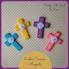 "Plastic Canvas: Easter Crosses Magnets (set of 4) -- ""Ready, Set, Sew!"" by Evie"