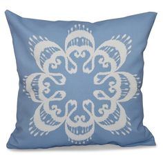 E by Design Happy Hippy Ikat Mandala Decorative Pillow Blue / White - PGN543BL17-16