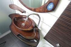 dřevěné umyvadlo BANDIT - dřevo ořech http://podlahove-studio.com/content/40-drevene-koupelny-drevene-vany-a-umyvadla