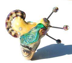 Sea Horse Heart Sand Serpent handmade lampwork bead large by Genea, $95.00