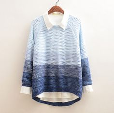 Japanese sweet hollow out gradient knitting sweater