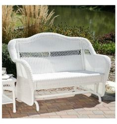 Patio Glider Rocker Loveseat Wicker Resin Double Steel Frame Porch White Garden