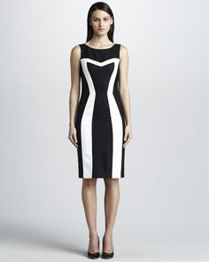 Contrast Pique Dress by David Meister at Neiman Marcus.