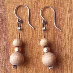 Aarikka Finland Vintage Earrings Light Brown Wood and Gold Toned Beads Dangle Gold Wood, Brown Wood, Vintage Earrings, Finland, Dangle Earrings, Dangles, Beads, Jewelry, Beading