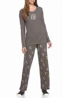 7c00a92365 HUE Graphite Celestial Sky Thermal Pajama Set with Socks Thermal Pajamas
