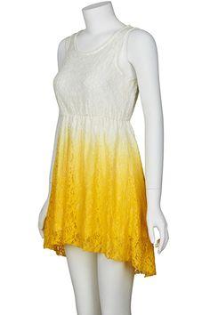 Asymmetric Dual-tone Gradient Yellow Dress  $23.96