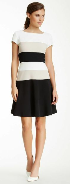 Colorblocked Cap Sleeve Dress