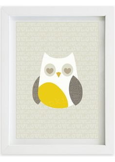 Nursery and Kid's Room Printable Wall Art | Children's Decor | Yellow Grey Unisex Owl | Only $5.00 | www.typopopkids.com