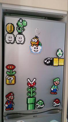 Retro Nintendo Mario Fridge Magnet Scene Hama Beads by ChillPadUK