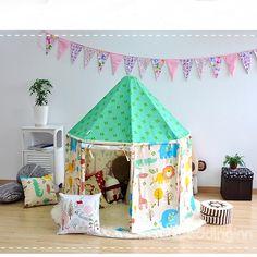 Green Hex-angular Cotton Cloth Kids Indoor Tent