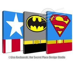 Superhero Canvas Superhero Wall Art Super hero by OurSecretPlace Superhero Room Decor, Superhero Canvas, Superhero Wall Art, Superhero Baby Shower, Character Symbols, Super Hero Costumes, Diy Canvas Art, Kids Cards, Art Projects