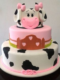 Cow Birthday Parties, Girl 2nd Birthday, Farm Birthday, Cow Cakes, Fondant Cakes, Cupcake Cakes, Barnyard Cake, Farm Cake, Bolo Fack
