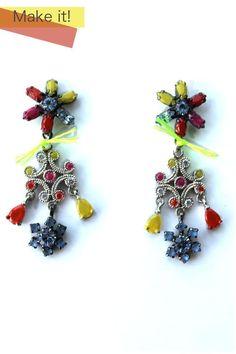 DIY Jewelry DIY Earrings DIY - NEON JEWEL EARRINGS