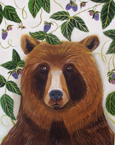Animal Art Portrait of a Brown Bearby by CatherineNolinArt on Etsy, $400.00