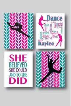 Set of 4 Prints Dance Room Decor Girls Room Wall by MDesignCompany moderndance Modern Dance, Dance Decorations, Dance Rooms, Dance Gifts, Ideias Diy, Dance Recital, Teen Girl Bedrooms, Girls Dance Bedroom, Girl Rooms