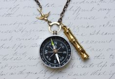 Compass Necklace - Lost at Sea -Captains Whistle -Working Compass and Whistle - Steampunk jewelry