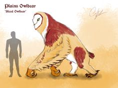 This guy has prob the same stats as the regualr Owlbear, this would be a plains variant like Burrowing Owls or something. Some lore would be it gets the name Blood Owlbear because of their red feathers that they use for mating rituals. Mythical Creatures Art, Alien Creatures, Magical Creatures, Fantasy Creatures, Fantasy Monster, Monster Art, Creature Feature, Creature Design, Fantasy Beasts