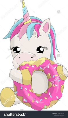 Vector illustration with cute cartoon unicorn eating tasty donuts. A fan of bun, candy and sweets rejoices at the holiday. Obyect isolated on white Unicorn Fantasy, Unicorn Horse, Unicorn Art, Unicorn Drawing, Cartoon Unicorn, Unicorn Painting, Cute Rainbow Unicorn, Cute Unicorn, Baby Unicorn