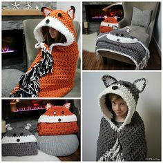 Adorable fox and wolf hooded blanket pattern by MJ's Off the Hook! Blanket is crocheted with bulky yarn and basic stitches, so it's great for beginners!