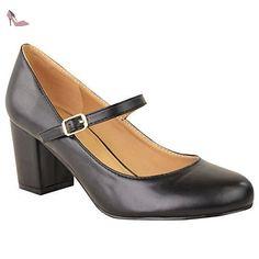 FEMMES TALON BLOC MOYEN BABIES BUREAU TRAVAIL HABILLÉ LANIÈRE BALLERINES TAILLE - Simili-cuir Noir, 40 - Chaussures fashion thirsty (*Partner-Link)