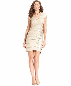 London Times Dress, Cap-Sleeve Crisscross Tiered Sheath - Dresses - Women - Macy's