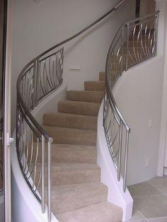 Custom Made Custom Stainless Steel Railing Metal Staircase Railing, Steel Railing Design, Modern Stair Railing, Balcony Railing Design, Home Stairs Design, Modern Stairs, Balustrade Inox, Stainless Steel Stair Railing, Steel Stairs