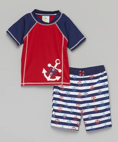 Another great find on #zulily! Red Anchor Rashguard Set - Infant, Toddler & Boys #zulilyfinds